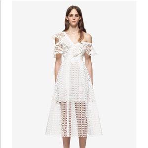 Self-Portrait Guipure Frill Midi Dress